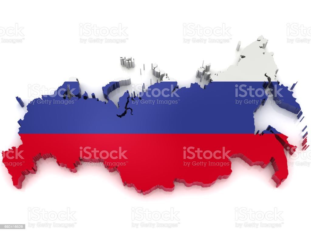Russia map flag stock photo