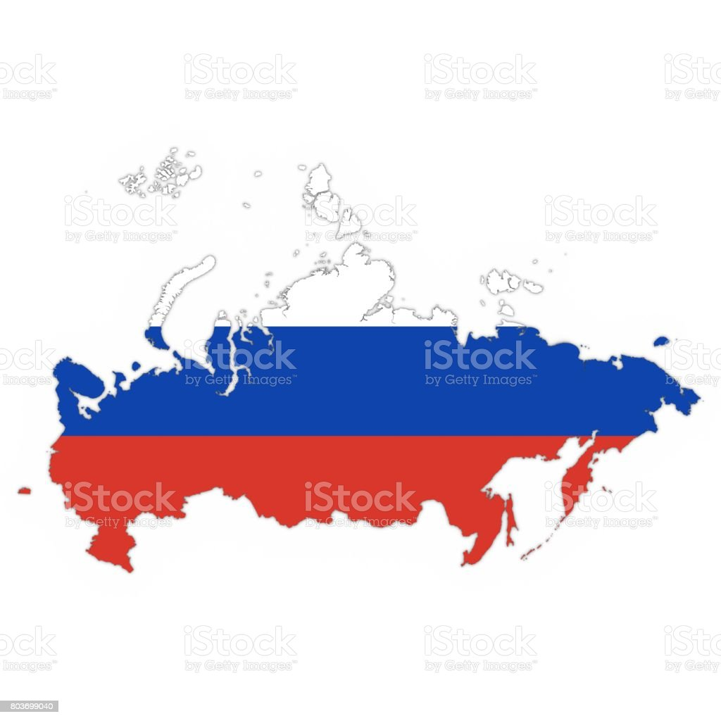 Russia Map Outline with Russian Flag on White with Shadows 3D Illustration stock photo