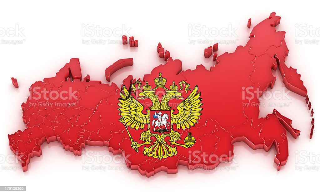 Russia map with coat of arms stock photo