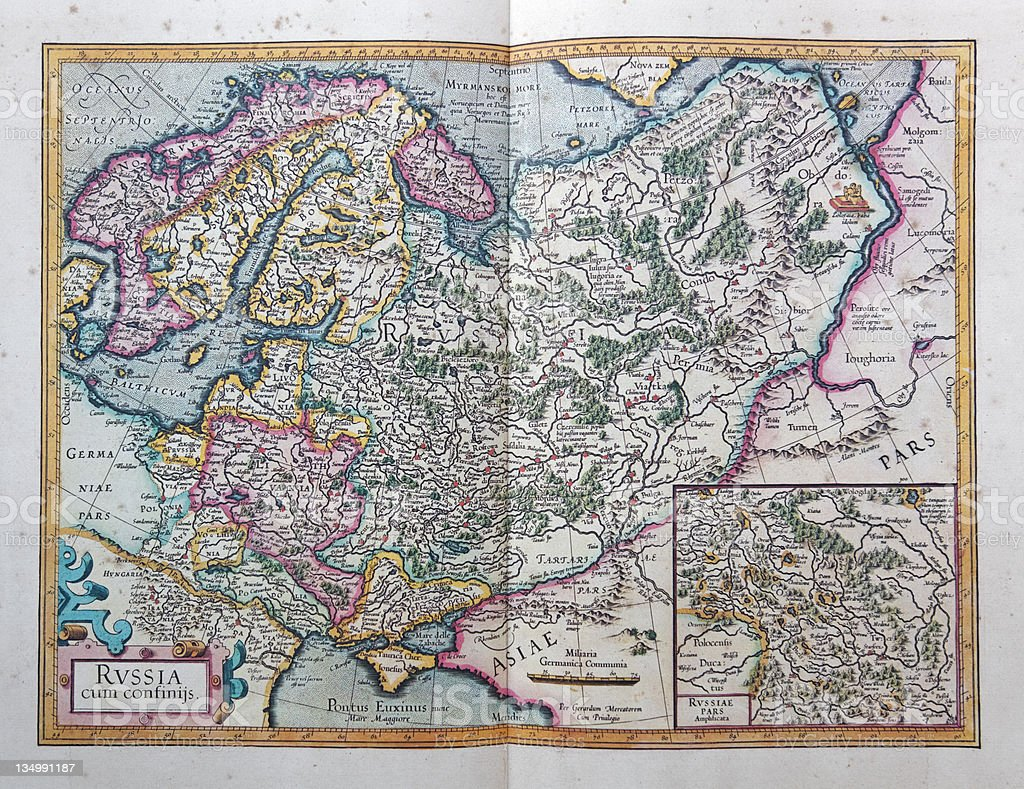 Russia maps of 1595 stock photo