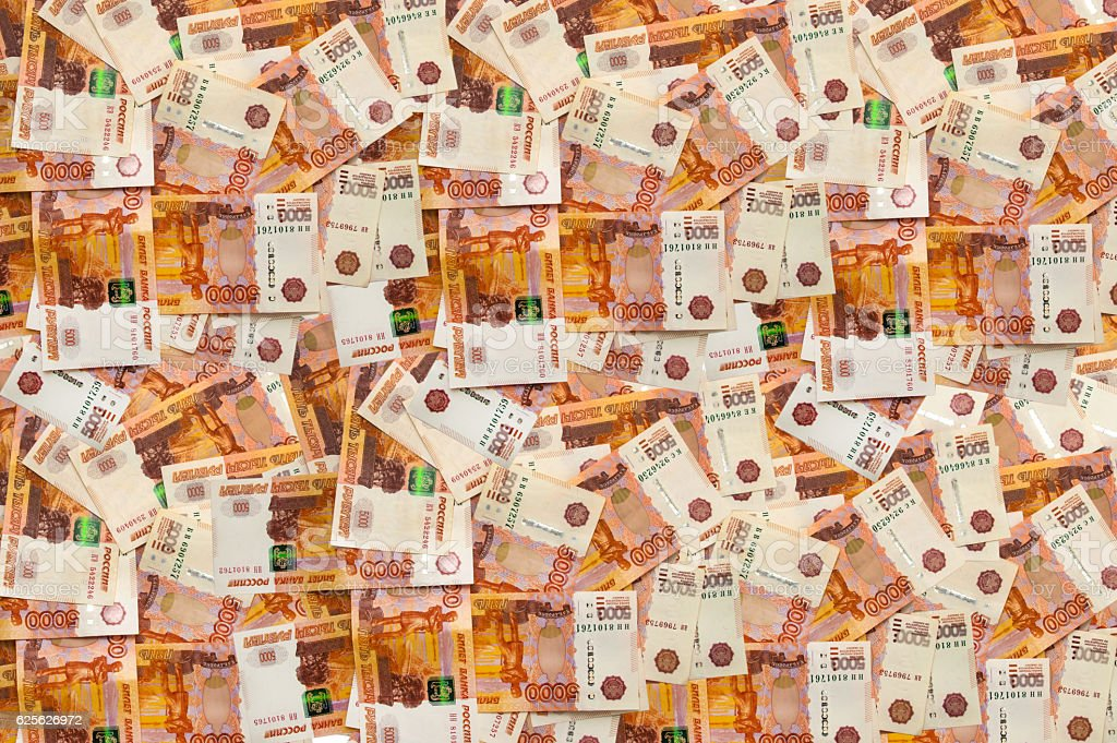 Russia money roubles banknotes, heap of russian rubles, currency background stock photo