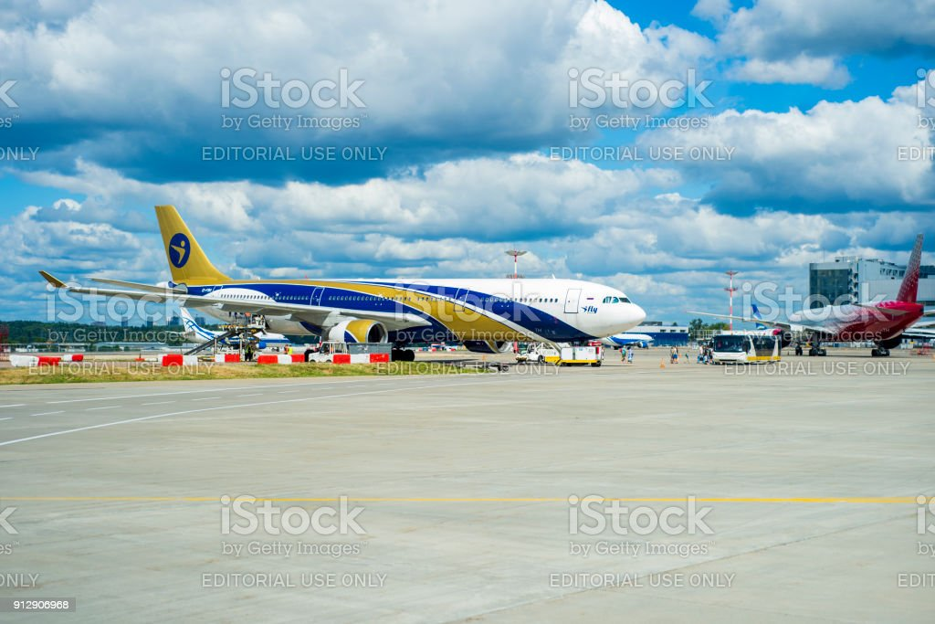 Russia, Moscow, August 2017: The company's plane Ifly landed in the airship of Vnukov. Preparing for the flight. Aircraft parking