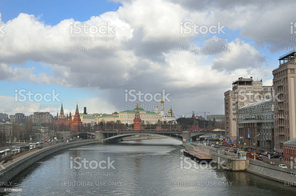 Russia, Moscow kremlin in rain and snow stock photo