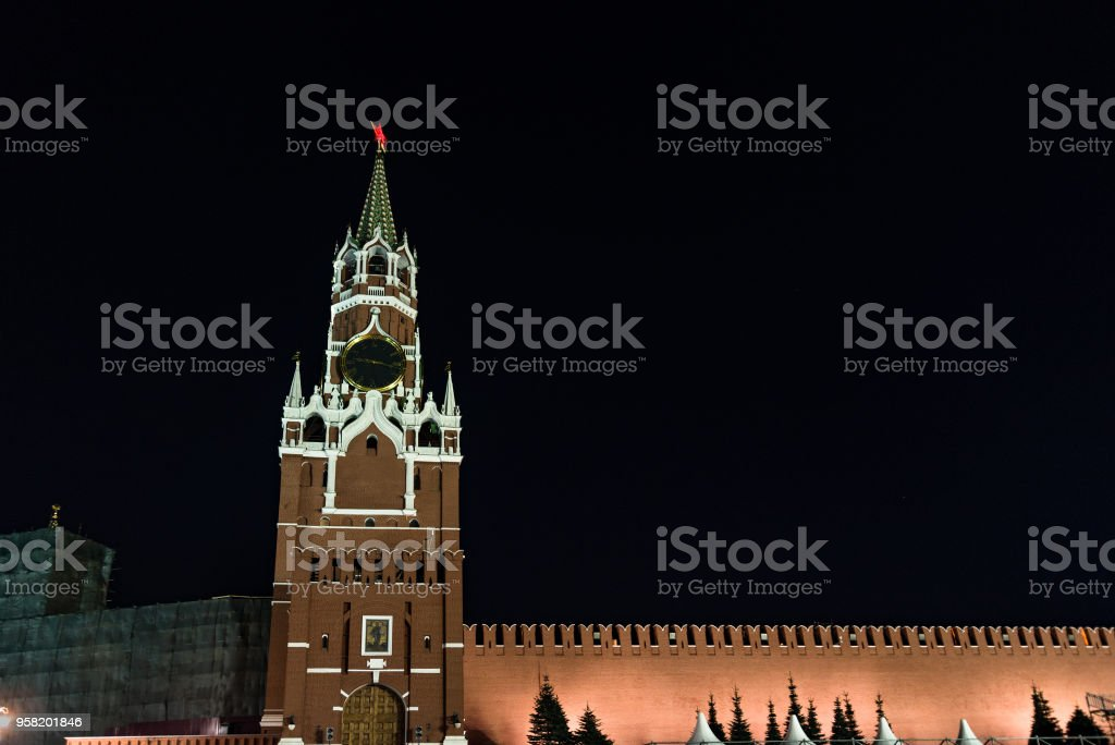Russia. Moscow. Moscow Kremlin on a clear night stock photo