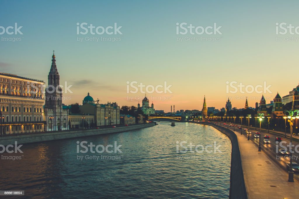 Russia. Moscow river, evening time. stock photo