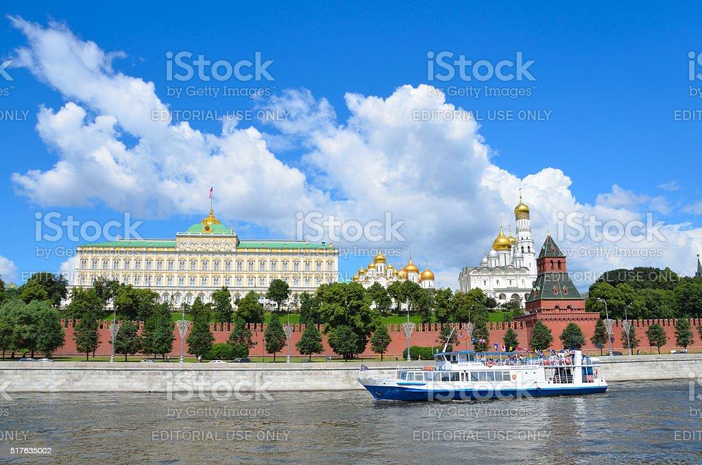 Russia, recreational crafts near Moscow kremlin stock photo
