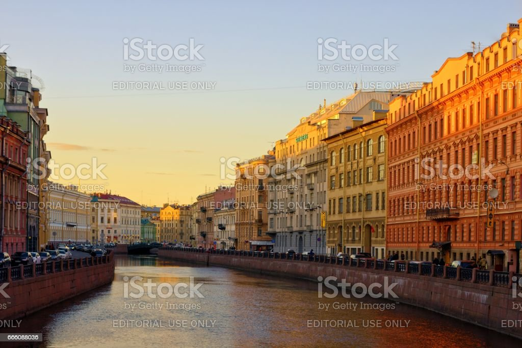 Russia, Saint Petersburg, March 31 2017: Moika River of Saint Petersburg at sunset time stock photo
