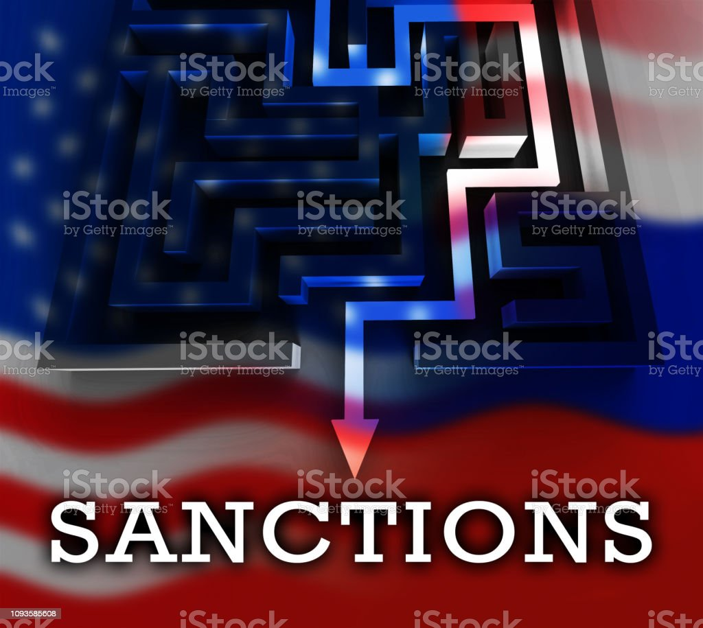 Trump Russia Sanctions Monetary Embargo Against Russian Federation - 3d Illustration stock photo