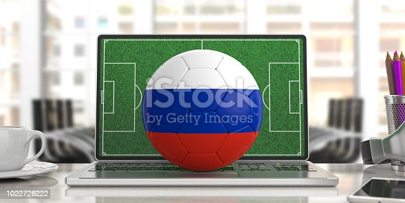 istock Russia soccer football ball on a computer keyboard, blur office background. 3d illustration 1022726222
