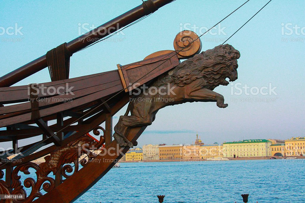 Russia, St. Petersburg. The growth of the ship stock photo