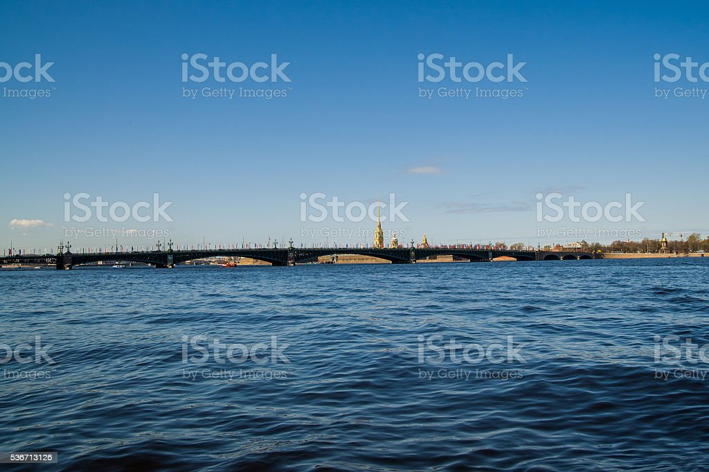 Russia, St. Petersburg. Troitsky bridge stock photo