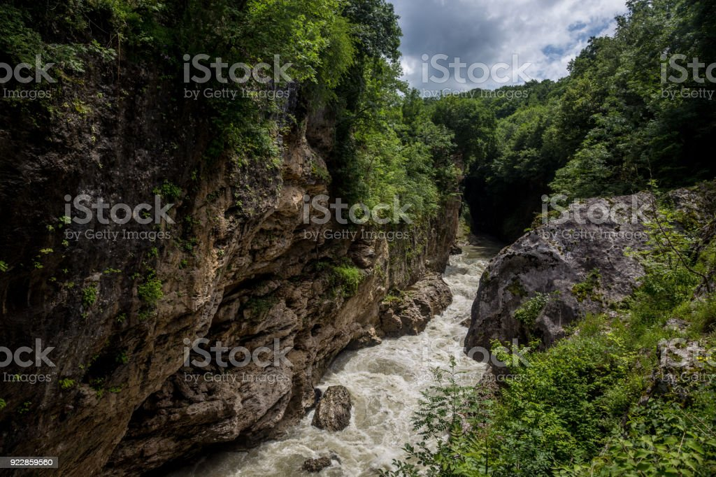 Russia , the Republic of Adygea . Rough river in Khadzhokhsky gorge stock photo