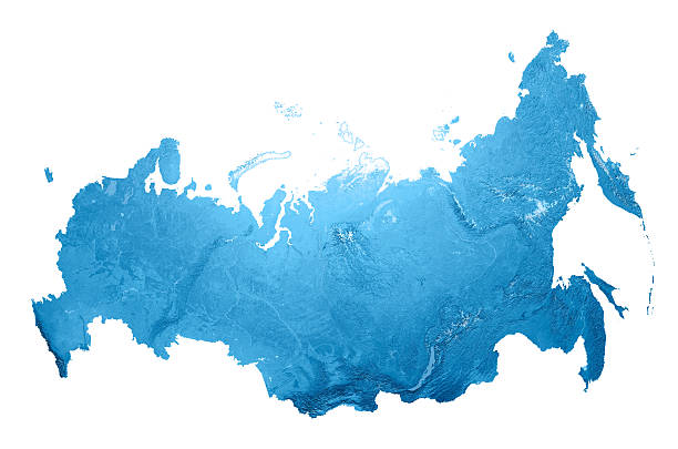 russia topographic map isolated - russia stock pictures, royalty-free photos & images