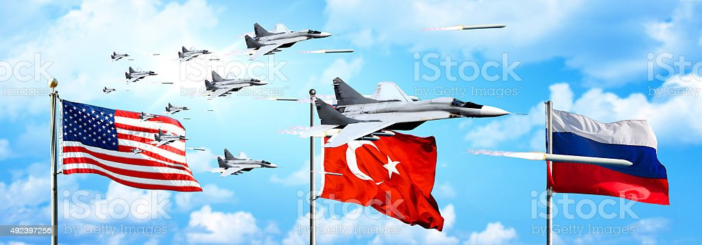 USA - Russia - Turkey war attack scene with rocket bombs stock photo