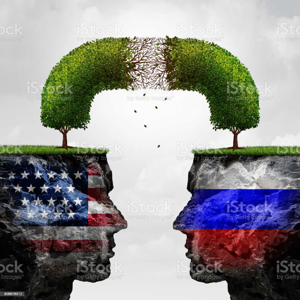 Russia United States Relations Problem stock photo
