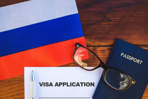 Russia visa application stock photo