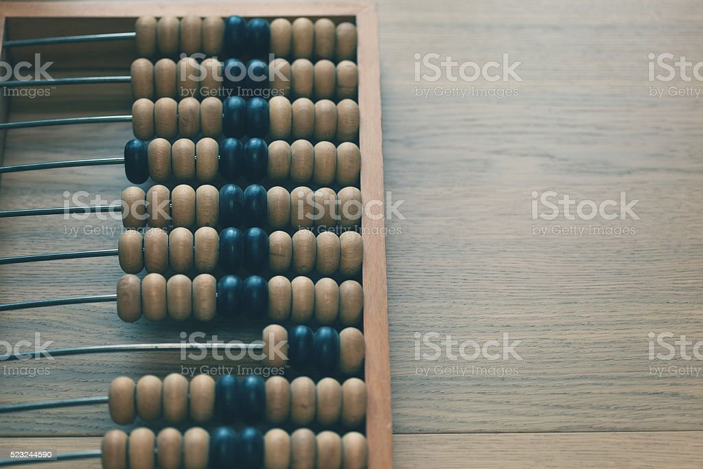 Russian abacus, russian scores. calculating frame stock photo