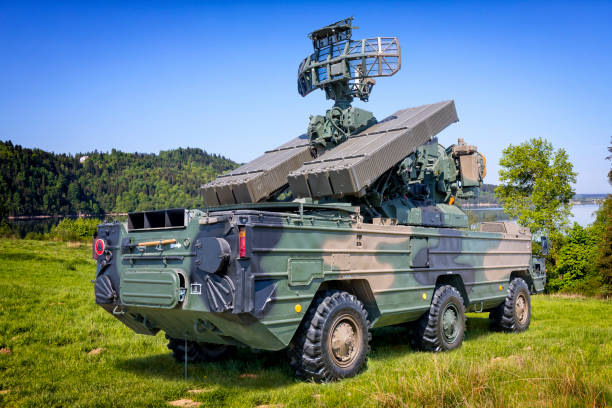 Russian AD missile combat vehicle in defense readiness Russian AD missile combat vehicle in defense readiness Osa is designed to destroy the aircrafts, helicopters and winged rockets, military training ground in Drawsko, Poland antiaircraft stock pictures, royalty-free photos & images