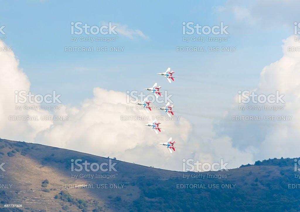 Russian aerobatic team 'Swifts' stock photo