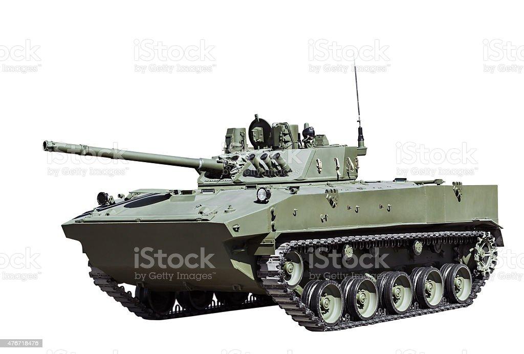Russian airborne fighting vehicle is isolated stock photo