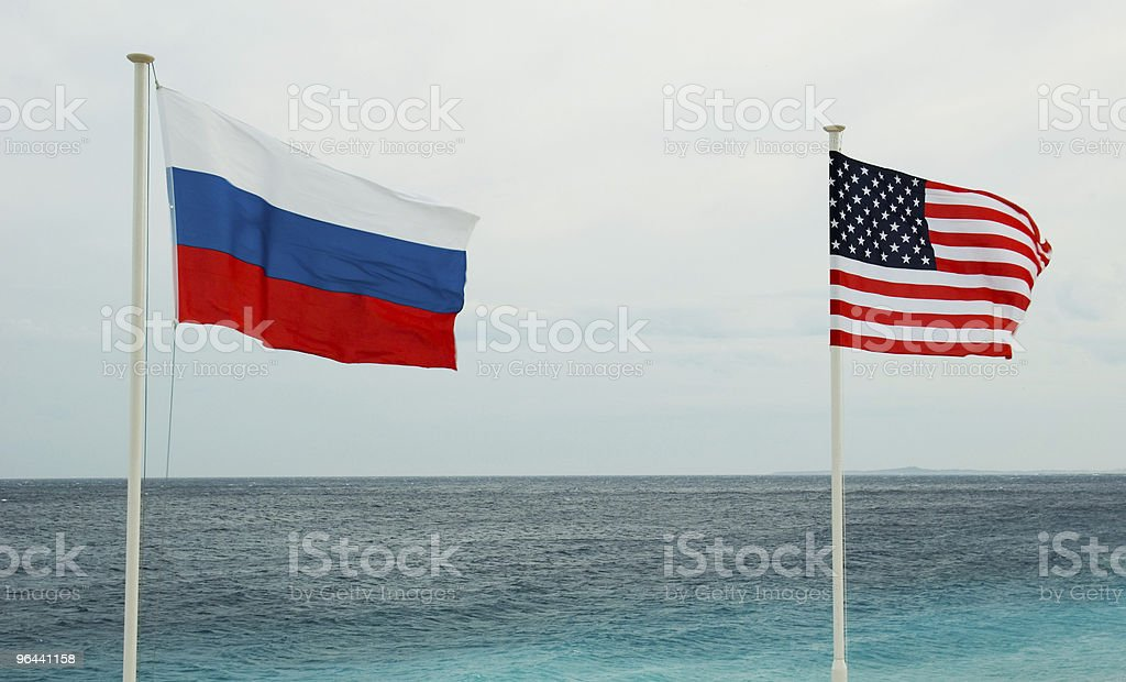 Russian and American flags - Royalty-free Alliance - Nebraska Stock Photo