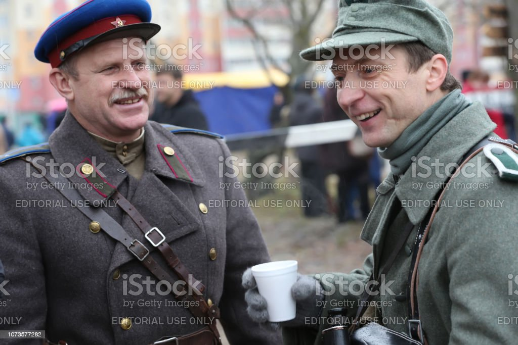 Russian and German soldiers of the Second World War. Soldiers of the Second World War. stock photo