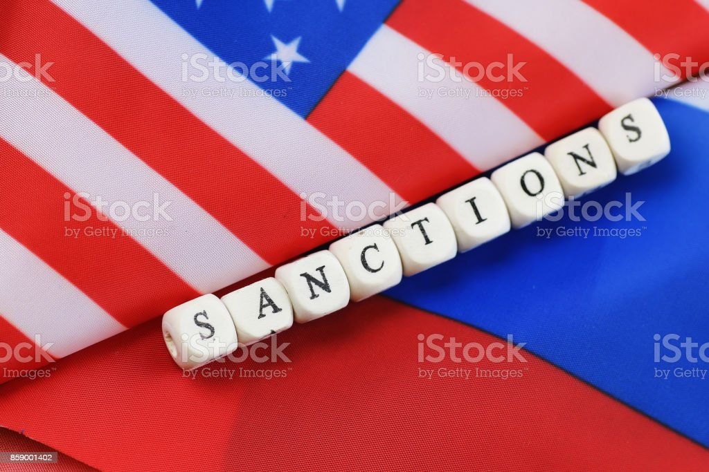russian and usa flag sanctions stock photo