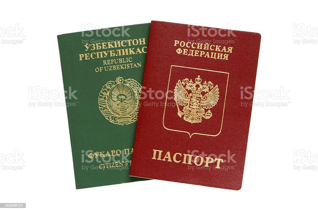 Russian and Uzbekistan passports royalty-free stock photo