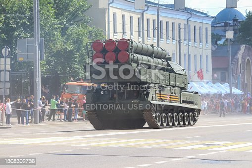 Russia, Moscow - June 24, 2020: Moscow Victory Day Parade. Russian anti-aircraft weapon system Buk-M3 (NATO reporting name: SA-17A Grizzly) drives down Krasnaya Presnya street.