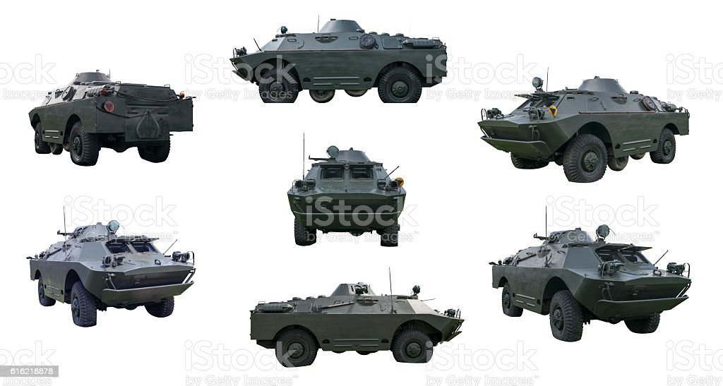 Russian armored car isolated on white stock photo