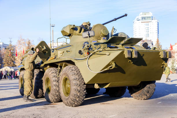 SAMARA, RUSSIA - NOVEMBER 7, 2015: Russian Army BTR-82 wheeled armoured vehicle personnel carrier stock photo