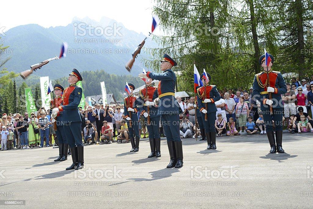 Russian Army Drill Team In Kranjska Gora Slovenia Stock Photo