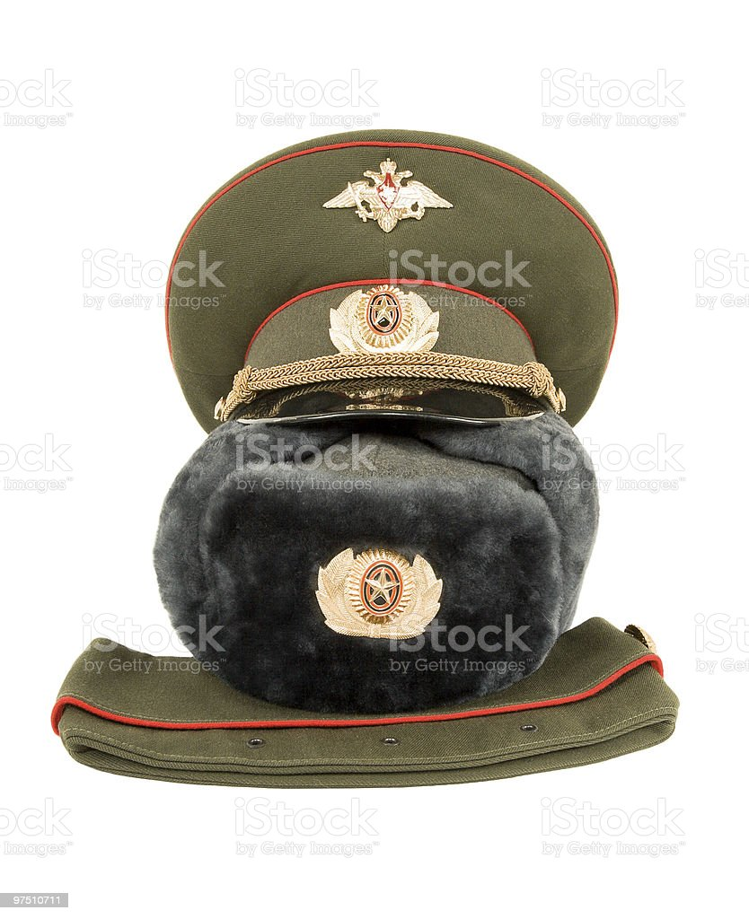 Russian army officers caps royalty-free stock photo