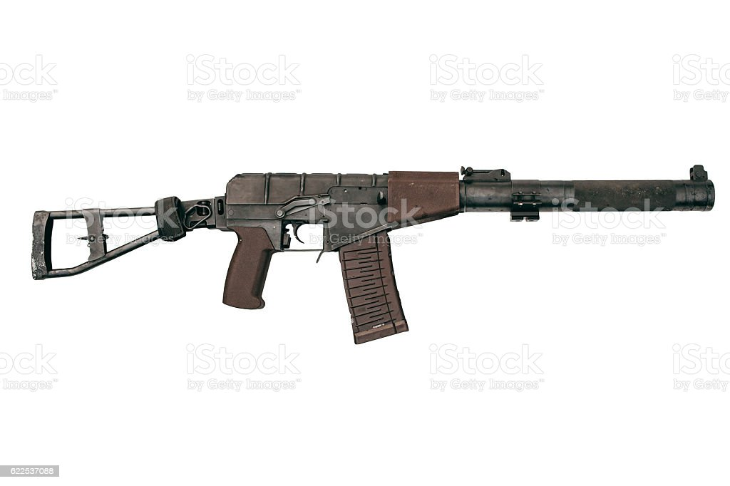 Russian automatic assault rifle isolated. Modern weapon. stock photo