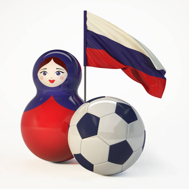 Russian Babushka doll with football ball and Russian Flag. stock photo