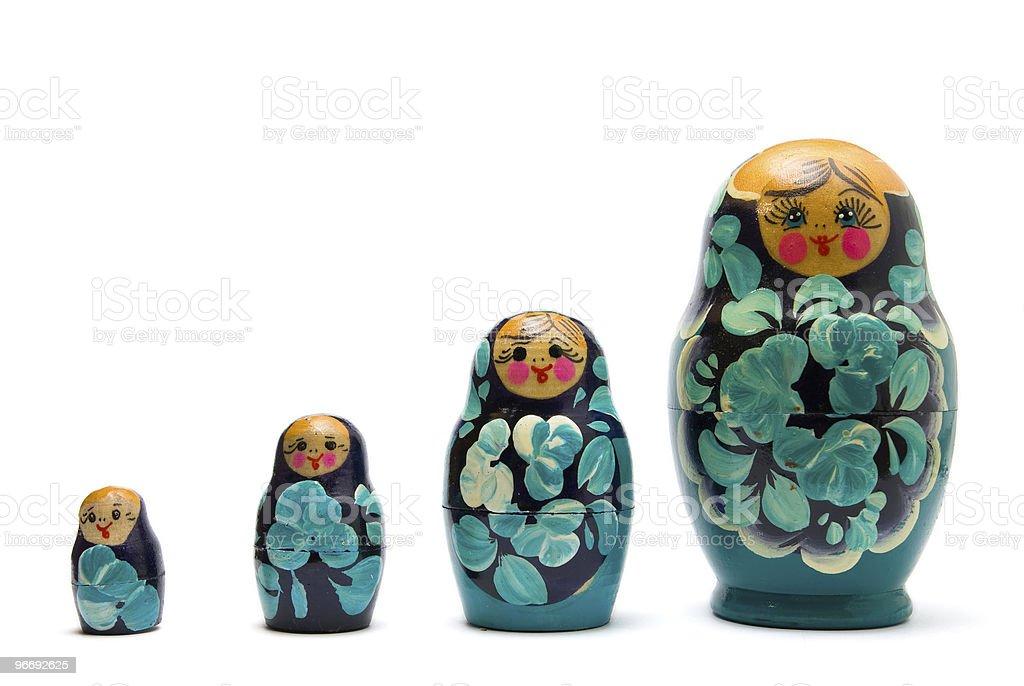 russian babushka nesting dolls (matreshka) line isolated stock photo