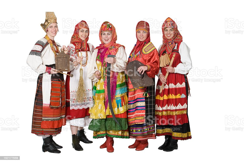 Russian band in traditional costumes stock photo