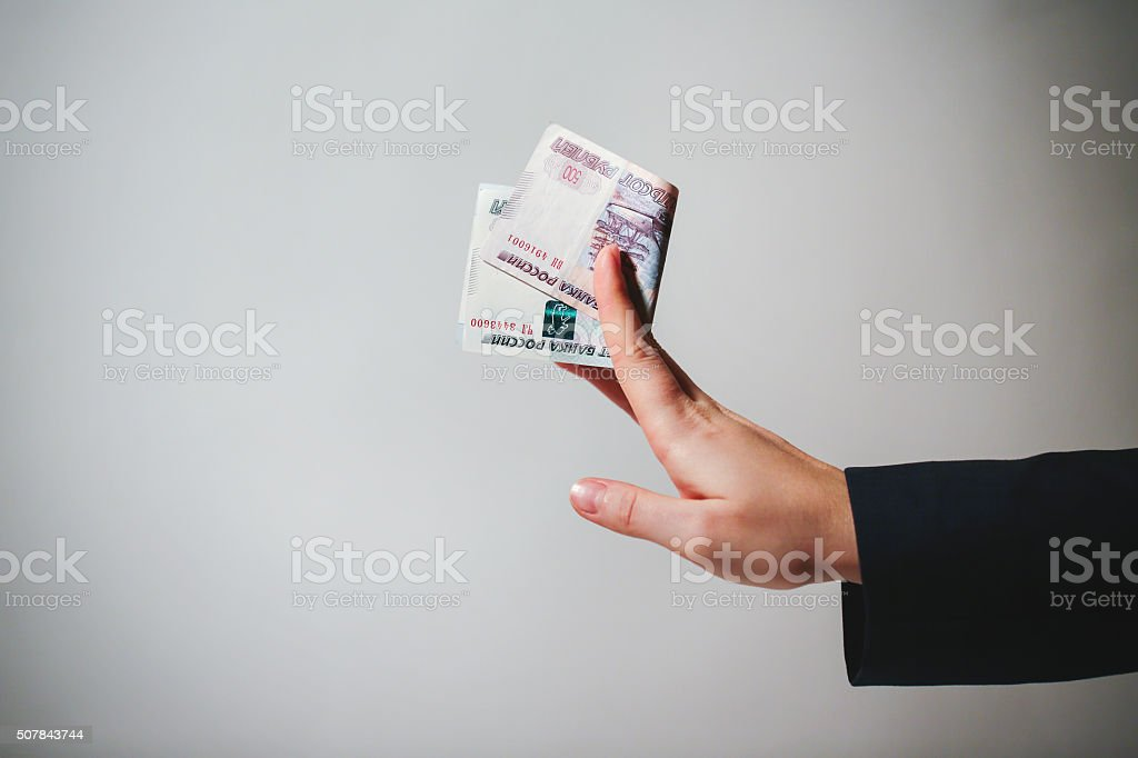 Russian Banknotes Rubles in hand. stock photo
