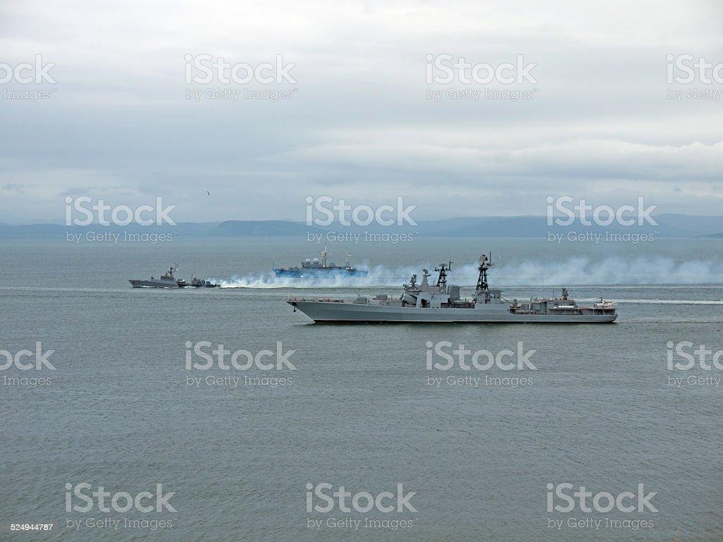 Russian battleships stock photo