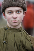 Russian boy in the form of a soldier of the Second World War.Children of the Second World War
