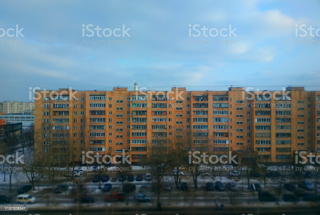 Russian buildings: city suburbs background stock photo