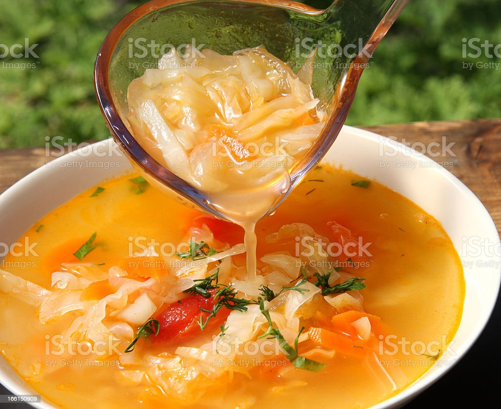 Russian cabbage soup schi stock photo