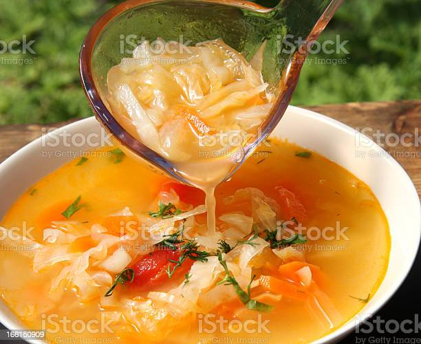 Russian Cabbage Soup Schi Stock Photo - Download Image Now