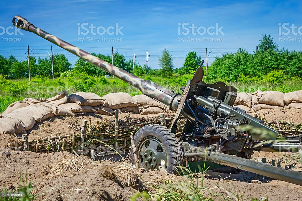 Russian cannon in the Trench stock photo