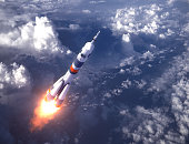 Russian Carrier Rocket Launch In The Clouds. 3D Illustration.