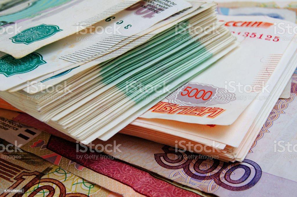 Rublos rusos en efectivo - foto de stock