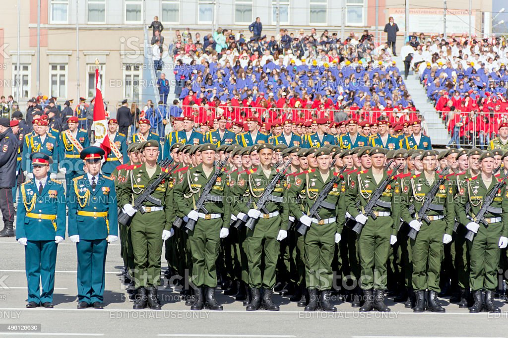 Russian ceremony of the opening military parade on annual Victor stock photo