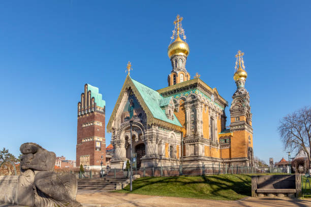 Russian chapel on the Mathildenhoehe in Darmstadt with wedding tower stock photo