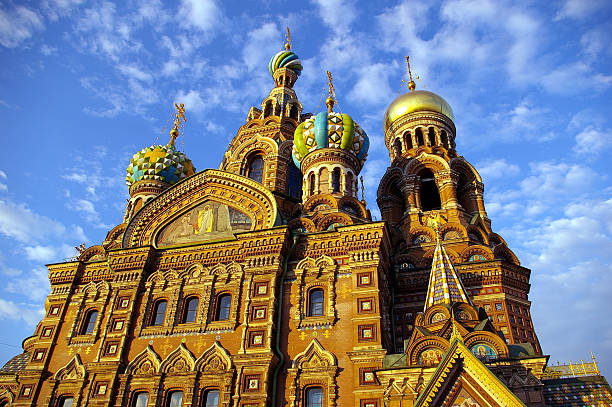 Russian church architecture in St Petersbourg, Russia stock photo