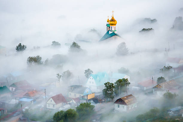 Russian Church in the Mist Small Russian Church in the Morning Mist kamchatka peninsula stock pictures, royalty-free photos & images